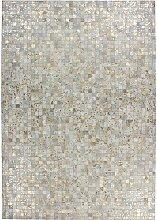 Patchwork Teppich in Creme Weiß und Goldfarben