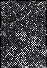 Patchwork Teppich in Schwarz und Silberfarben
