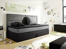 PATRON Boxspringbett Bett Polsterbett Kinderbett 90x200 cm in schwarz/grau, schwarz/grau