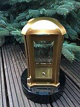 Paul Jansen Grablaterne aus Edelstahl - Goldfarben inklusive Granitsockel 19cm x 19cm x 6cm Friedhofsleuchte Edelstahl Grablicht Grablampe Edelstahl Edelstahlleuchte