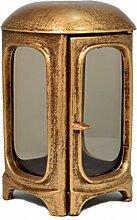 Paul Jansen Grablaterne eckig mit abgerundeten Kanten und getönten Glasscheiben Höhe 20 cm, braun / gold