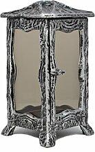 Paul Jansen Grablaterne eckig mit getönten Glasscheiben und leicht ausgestellten Füßen Höhe 23 cm, schwarz / silber