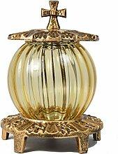 Paul Jansen Grablaterne mit Kugelglas und Kreuz auf dem Deckel, Höhe 20 cm, gold / braun