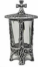 Paul Jansen Grablaterne mit Stehkreuz und Glaseinsatz, Höhe 21 cm, schwarz / silber