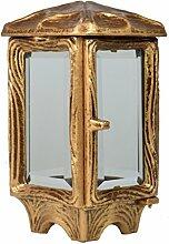 Paul Jansen Grableuchte eckig mit aufliegendem abstrakten Kreuz und Facettenscheiben Höhe 22 cm, braun / gold