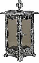 Paul Jansen Grableuchte eckig mit getöntem Glas und Stehkreuz sowie leicht ausgestellten Füßen Höhe 25 cm, schwarz / silber