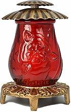 Paul Jansen Grableuchte inklusiv rotem Glaseinsatz und Brenner Höhe 21,5 cm, braun / gold