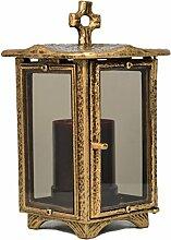 Paul Jansen Grablicht eckig mit getönten Glasscheiben und Stehkreuz Höhe 25 cm, braun / gold