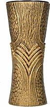 Paul Jansen Grabvase konische Form mit Kunststoffeinsatz und Blumenverteiler Höhe 29 cm, braun / gold