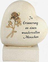 Paul Jansen Herz auf Sockel Rose Grabdekoration,