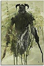 Paul Sinus Art The_Elder_Scrolls_V_Skyrim_90x60-SA Wandbild Leinwand, 90 x 50 x 3 cm, mehrfarbig