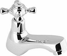 PaulGurkes Kaltwasser Standventil Armatur mit Kreuzgriff retro Nostalgie Kaltwasserhahn für einen Wasseranschluss Wasserhahn Landhausstil Antik Kran Hahn klein