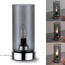 Paulmann Nachttischlampe Pinja Chrom/Rauchglas mit