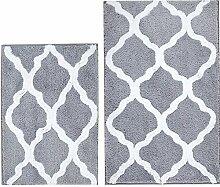 Badematte und U-f/örmige WC-Vorleger Modern 21 x 34+20x 20 grau rutschfeste Mikrofaser Kombi Badezimmerteppich Pauwer Badteppich-Set 2-teilig