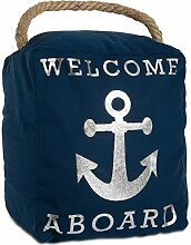 Pavilion Gift Company Offene Tür Decor – Welcome Aboard Anchor Beach Navy & Silber Türstopper mit Griff