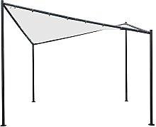 Pavillon 350 cm breit Weiß und Schwarz