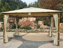 Pavillon aus Holz mit Finish Miele 3x 4mt mit seitlichen Vorhänge Sonnenschutz natur