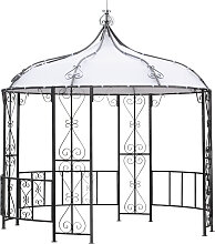 Pavillon BURMA 300cm rund, Stahl grau, Plane