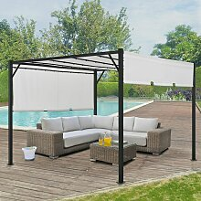 Pavillon Cavo 3 × 3 m creme – Pergola mit LED