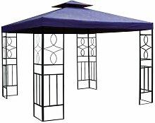 Pavillon Ersatzdach 3x3 Meter in blau - mit wasserabweisender Polyesterbespannung und Doppeldach (Blau)