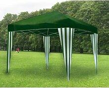 Pavillon faltbar 3x 3Meter mit Tuch aus Polyester. Farbe grün mit weißen Streifen