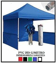 Pavillon faltbar blau Aluminium Sechskant 40mm 3x 3+ 4Seitenteile PVC 350g Metro