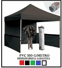 Pavillon faltbar schwarz Aluminium Sechskant 40mm 3x 3+ 4Seitenteile PVC 350g Metro