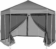 Pavillon faltbar Sechskant Pop-up mit 6Wänden grau 3,6x 3,1m