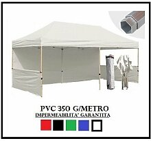 Pavillon faltbar weiß Aluminium Sechskant 40mm 3x 6+ 4Seitenteile PVC 350g Metro