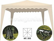 Pavillon für Garten Beige 3x 3faltbar Mod. verdegarden