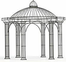 Pavillon Garten, Metallpavillon, Gartenlauben, Rosenpavillon, Pavillon Stabil Athene Ø 300 cm (Verzinkt)