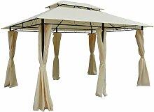 ® Pavillon Gartenzelt Doppeldach 3x4m Milchweiß