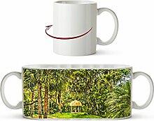 Pavillon in bezaubernder Landschaft in Florida Effekt: Zeichnung als Motivetasse 300ml, aus Keramik weiß, wunderbar als Geschenkidee oder ihre neue Lieblingstasse.