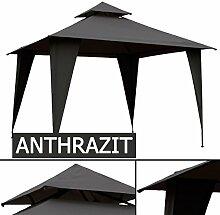 Pavillon KO 3x3m mit Dach ANTHRAZIT grau / TAUPE beige Pavillion Partyzelt 3x3