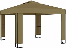 Pavillon mit Doppeldach 3x3x2,7 m Taupe 180 g/m2