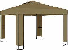 Pavillon mit Doppeldach 3x3x2,7 m Taupe 180 g/m²