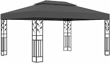 Pavillon mit Doppeldach 3x4 m Anthrazit 46253 -