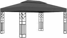 Pavillon mit Doppeldach 3x4 m Anthrazit VD46253 -
