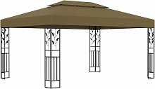 Pavillon mit Doppeldach 3x4 m Taupe 180 g/m2