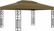 Pavillon mit Doppeldach 3x4 m Taupe 180 g/m²