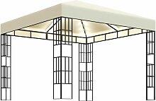 Pavillon mit Lichterketten 3x3 m Creme