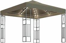 Pavillon mit Lichterketten 3x3 m Taupe Stoff