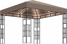 Pavillon mit Lichterketten 3x3 m Taupe