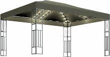 Pavillon mit Lichterketten 3x4 m Taupe Stoff