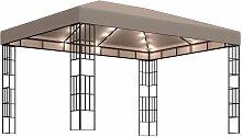 Pavillon mit Lichterketten 4x3 m Taupe
