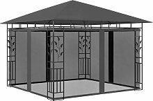 Pavillon mit Moskitonetz 3x3x2,73 m Anthrazit 180