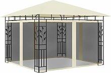 Pavillon mit Moskitonetz 3x3x2,73 m Creme 180 g/m²