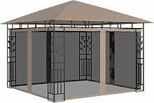 Pavillon mit Moskitonetz 3x3x2,73 m Taupe 180 g/m2