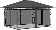 Pavillon mit Moskitonetz 4x3x2,73 m Anthrazit 180