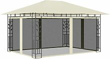Pavillon mit Moskitonetz 4x3x2,73 m Creme 180
